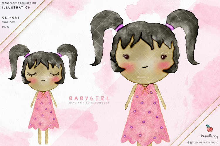Cute Baby Girl Clipart - Pink Dress Glitter| Drawberry i005 example image 1