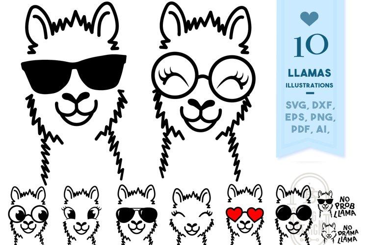 LLAMAS Svg Files - 10 Lama Illustrations
