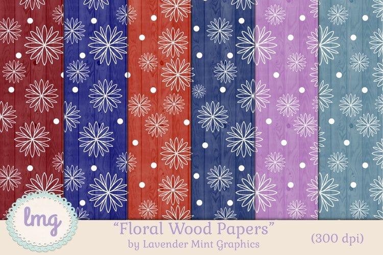 Floral Polka Dots Wood Texture Digital Scrapbook Papers