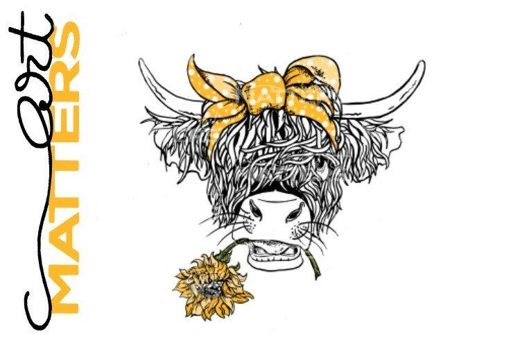 Longhorn Cow Sunflower - Hand Painted - 300 DPI
