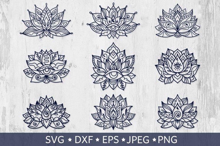 Lotus Flower Svg Bundle. Line Art Mandala Tattoo Designs.