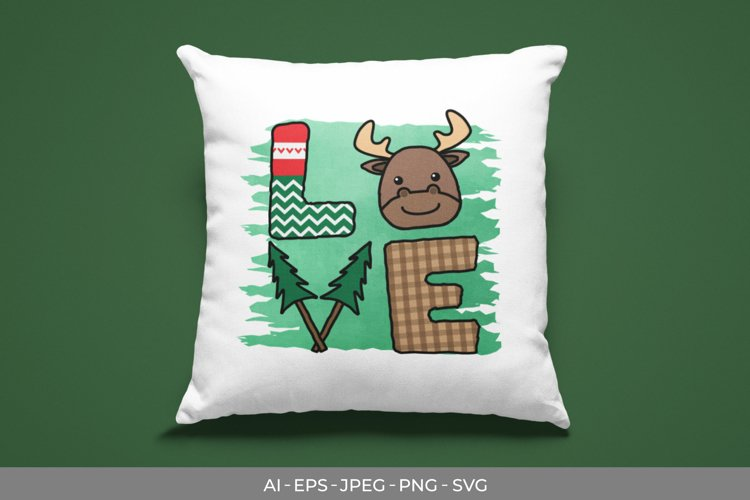 LOVE Christmas with Moose SVG