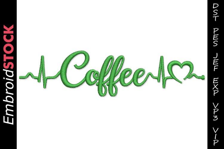 Love Coffee Heartbeat Embroidery Design