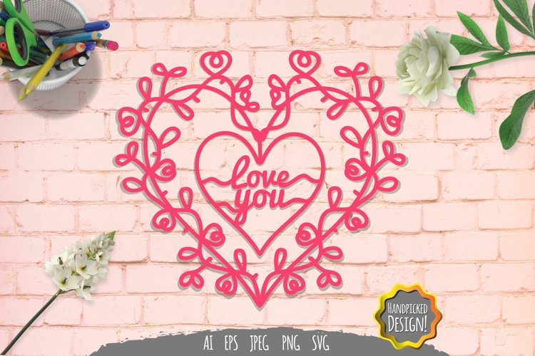 Love You Papercut SVG example image 1