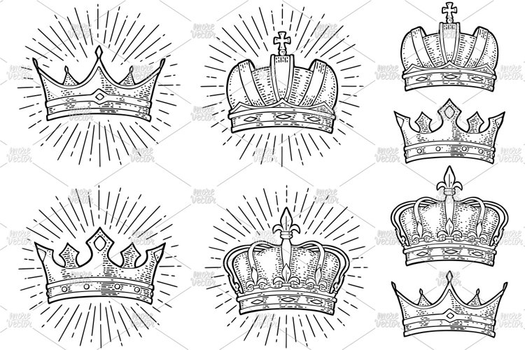 Four different king crowns. Engraving vintage color vector example image 1