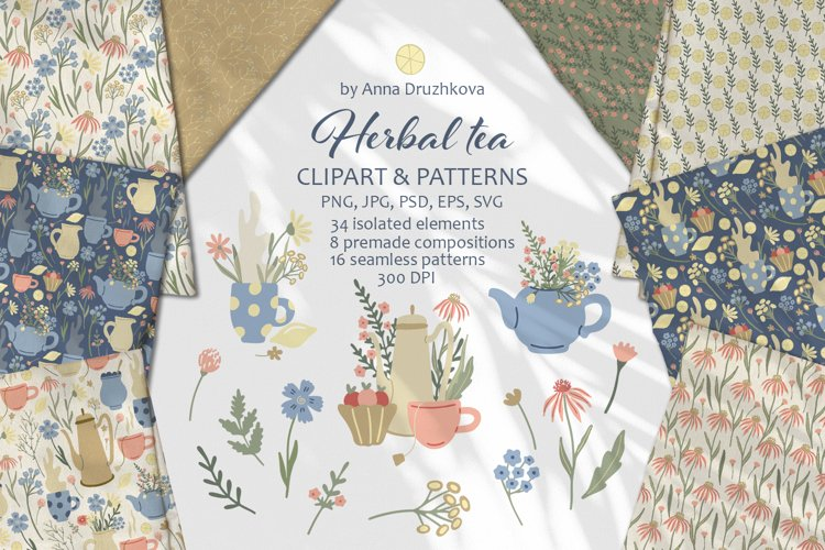 Herbal tea vector clipart and patterns