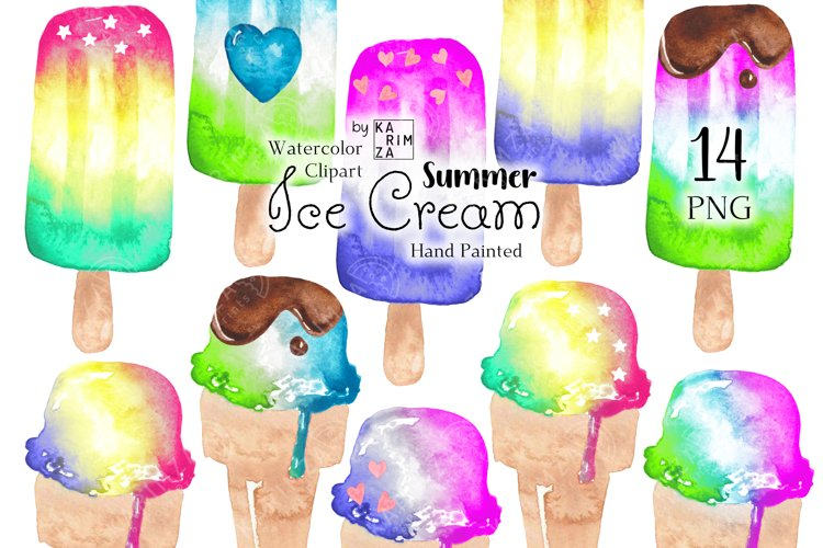 Summer clipart, Watercolor popsicle clip art, Ice cream png