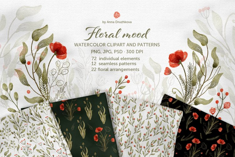 Floral Mood watercolor clipart and pattern collection