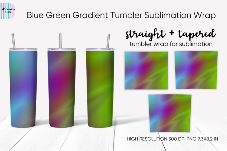 Blue Green Gradient Sublimation Skinny Tumbler Wrap 20 Oz