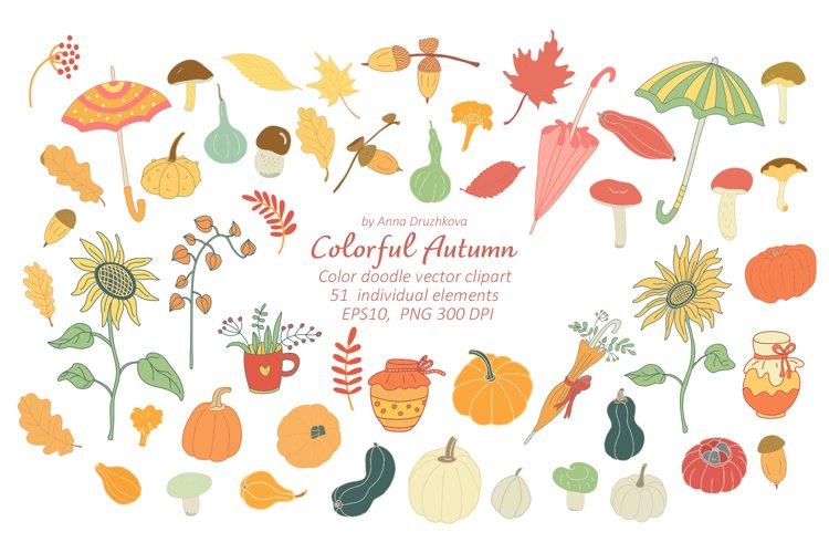 Colorful Autumn Doodle Vector clipart
