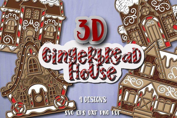 Gingerbread House svg bundle 3D Christmas Papercut example image 1