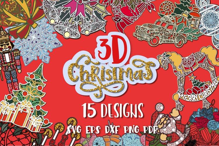 Christmas svg bundle 3D set of 15 designs Tree svg Papercut