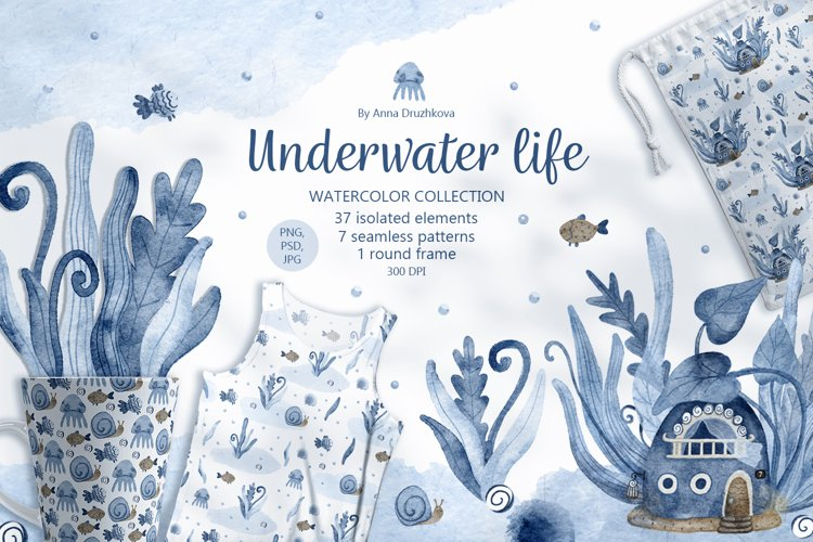 Underwater life watercolor collection