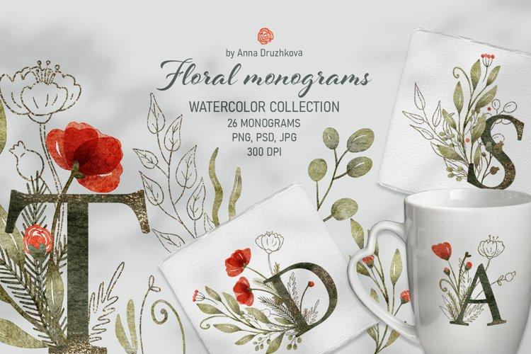 Floral monogram collection watercolor clipart