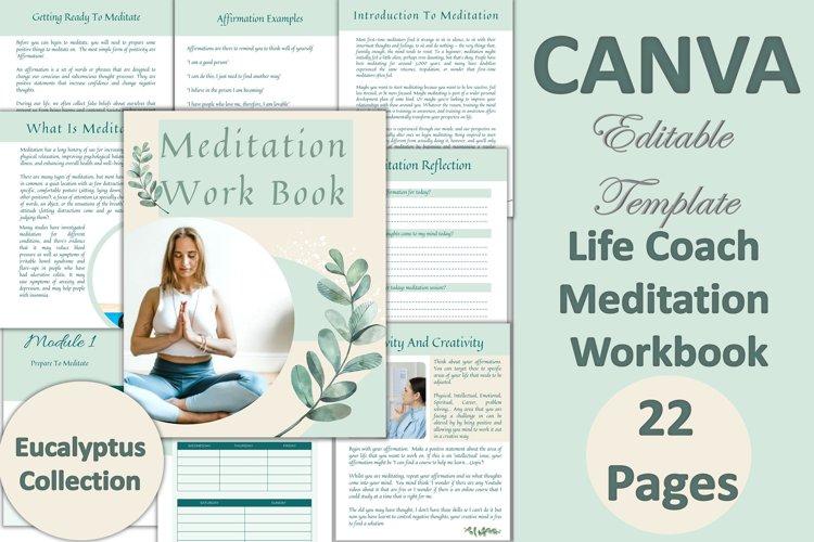Canva Editable Meditation Workbook. 22 Pages Eucalyptus Them