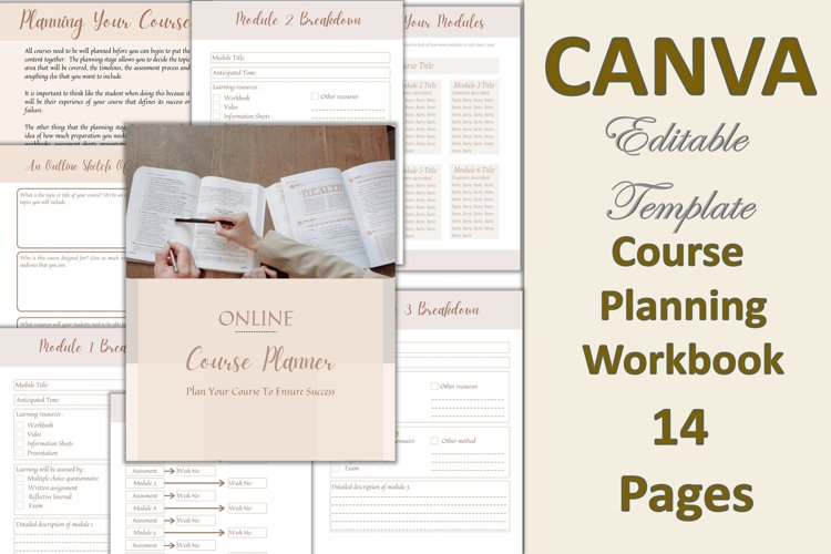Canva Course Planning Workbook for Trainers, Life Coach,