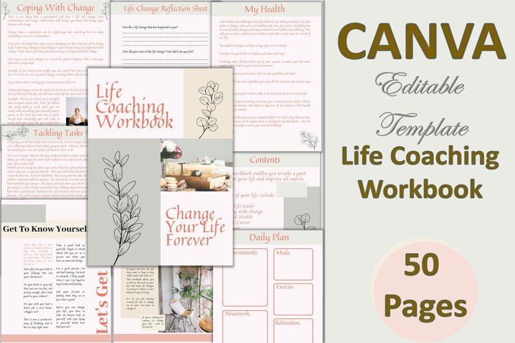 Canva Editable Life Coaching Workbook 50 pages