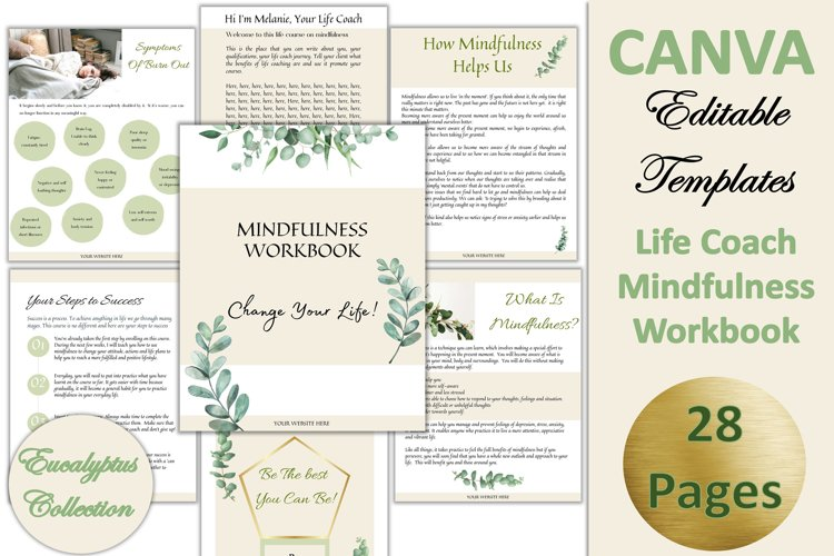 Canva Editable Mindfulness Workbook. 28Pages Eucalyptus Pack