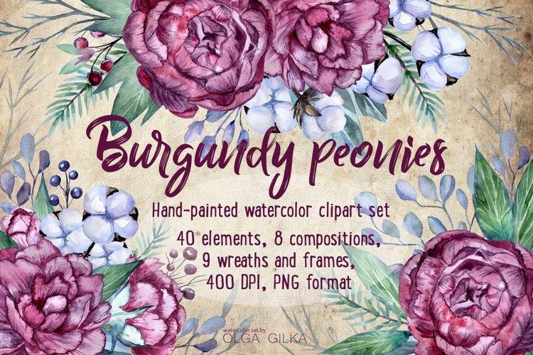 Burgundy peonies watercolor clipart set example image 1