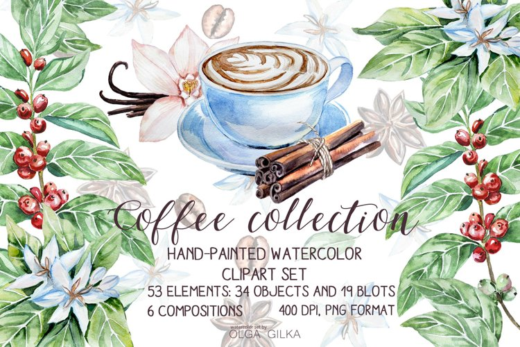 Coffee collection watercolor clipart set