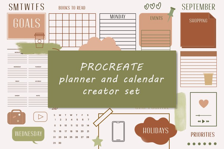 115 Planner Procreate stamps, Planner/calendar creator