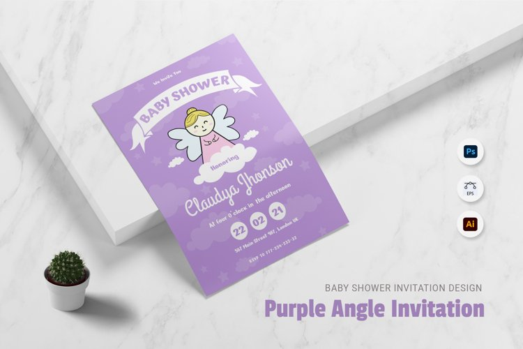 Purple Angel Baby Shower Invitation example image 1