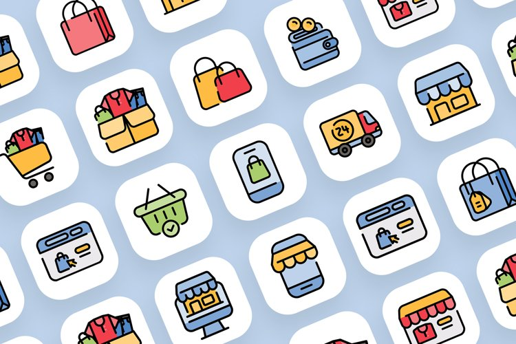 Set of 50 Shopping icon come with colorline design