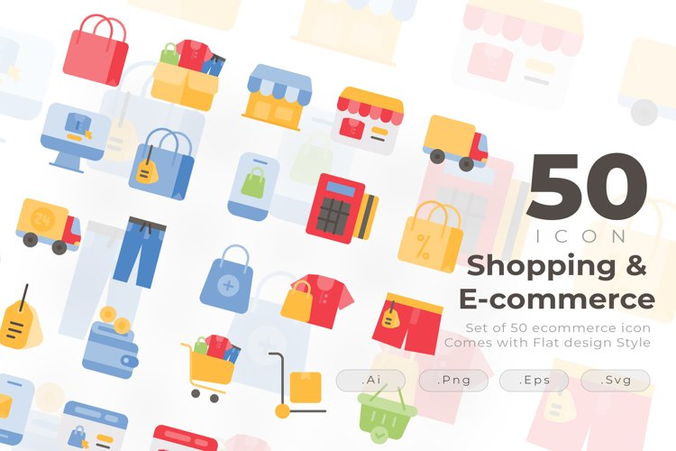 Set of 50 Shopping icon come with flat design