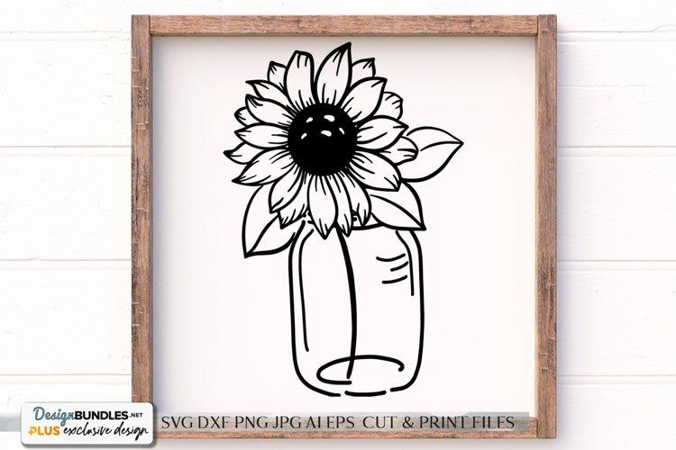 Sunflower Mason Jar Arrangement - SVG File
