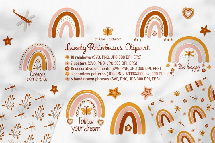 Lovely Rainbows vector clipart and patterns
