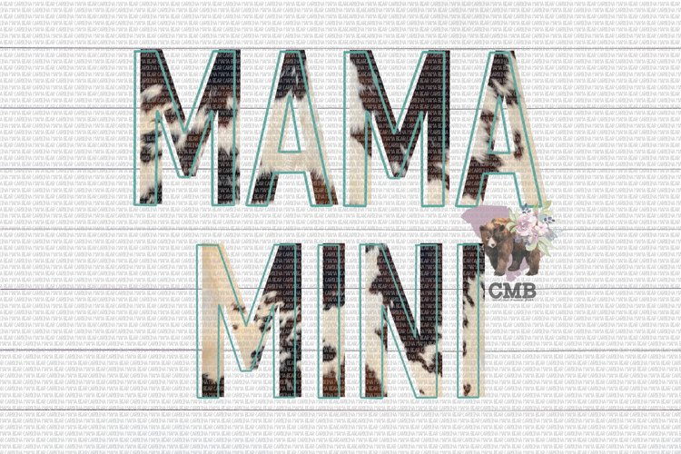 Mama & Mini Cowhide Outlined PNG File / Sublimation Clipart