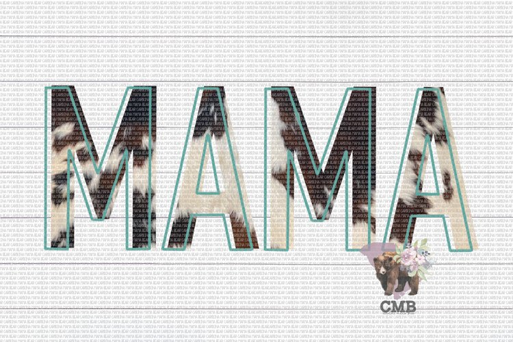 Mama Cowhide Outlined PNG File / Sublimation Clipart File