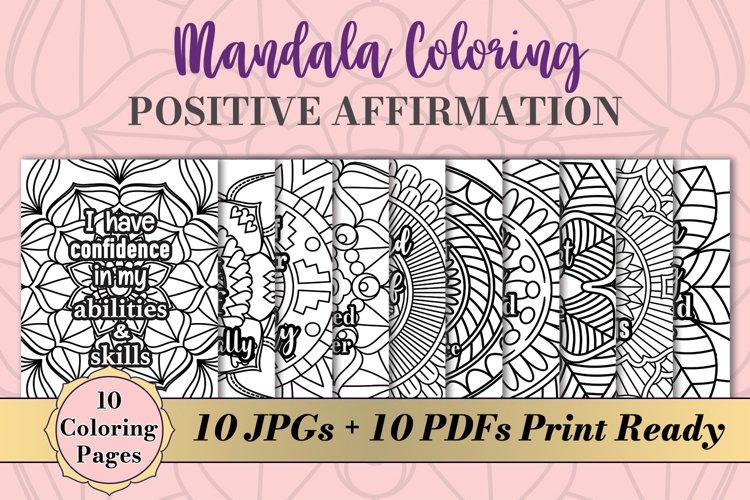 Mandala Coloring Pages 10 Affirmation Quotes Bundle