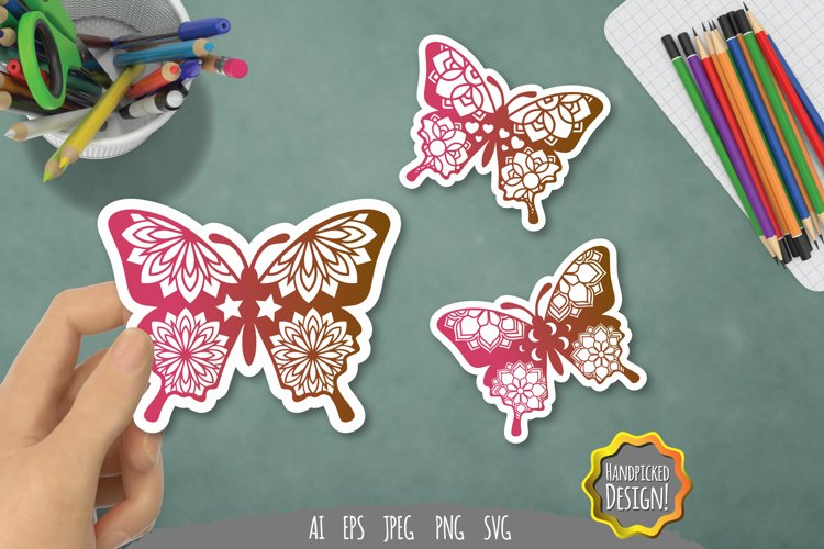 Colorful Mandala Butterfly PNG Sticker Pack