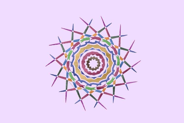 Mandala colorful embroidery example image 1