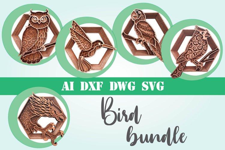 Bird bundle svg layered Multi layer mandala birds 3D example image 1