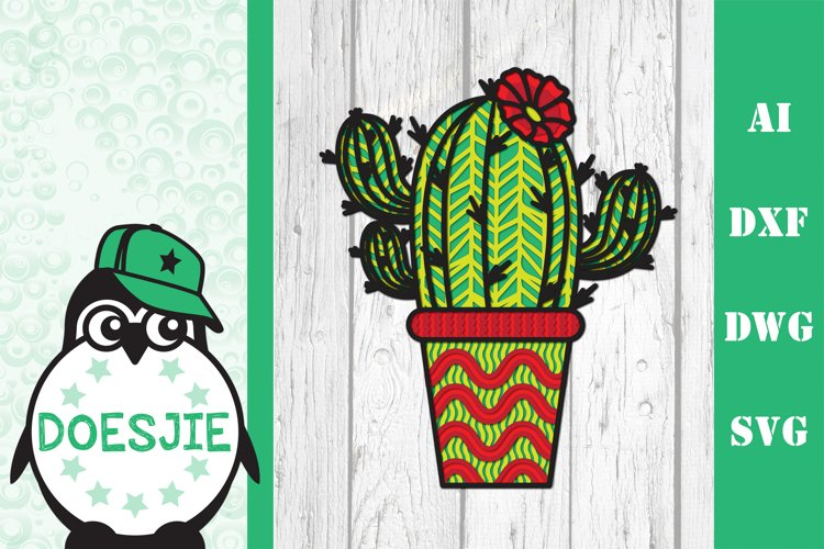 Cactus layered svg file Multi layer mandala cactus flower 3d example image 1