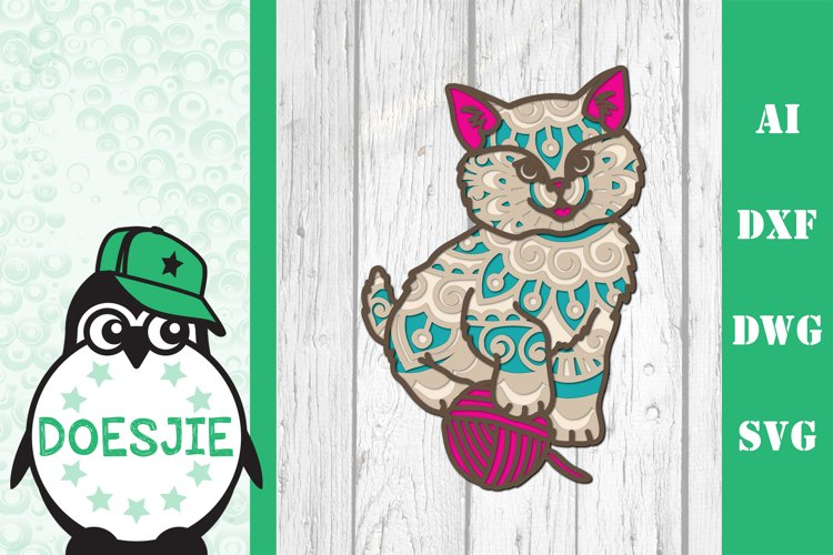 Kitten layered cat mandala SVG multilayer cute cat with wool example image 1
