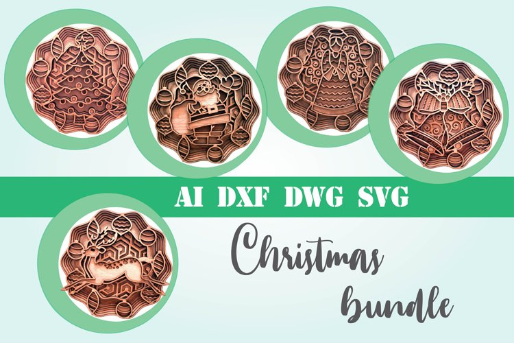 Christmas bundle 5 designs 3d layered mandala xmas svg example image 1