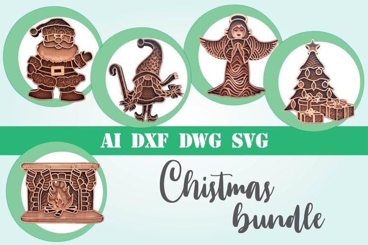 Christmas bundle layered 5 designs 3d mandala zentangle svg