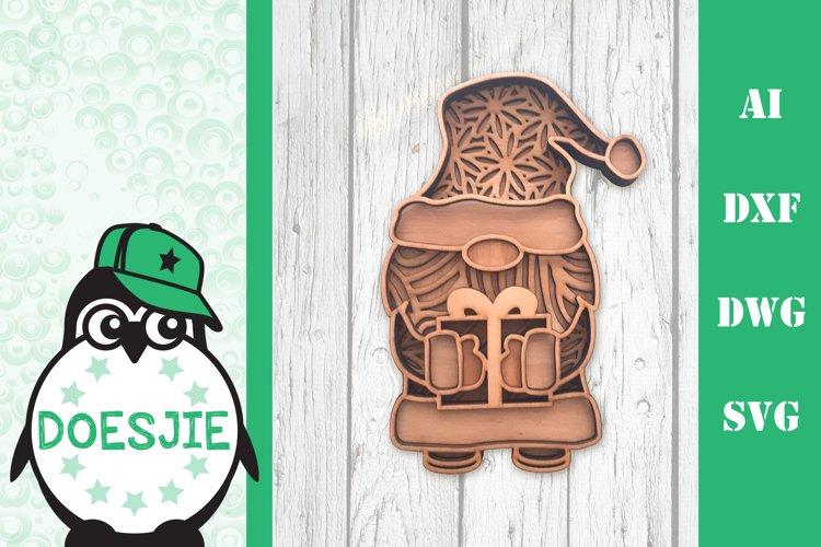 Gnome Christmas Layered 3d svg Multi layer mandala glowforge