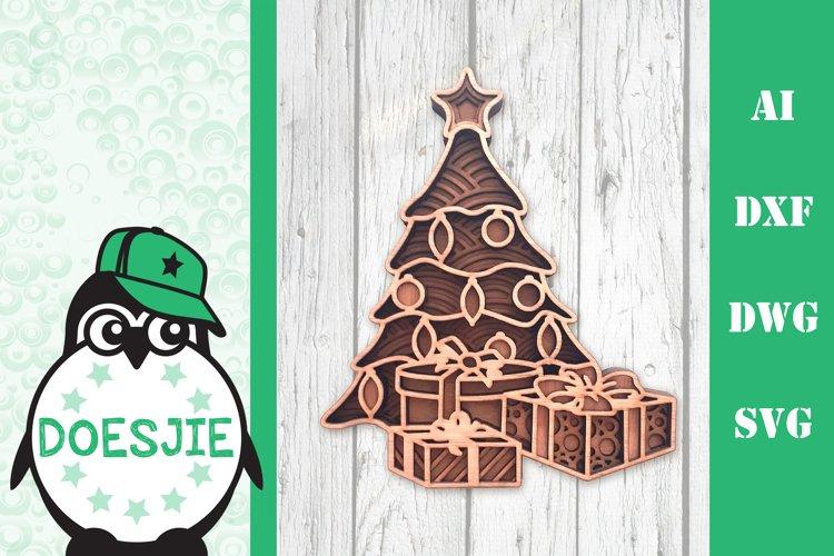 Christmas tree svg layered mandala multi layer tree gifts example image 1