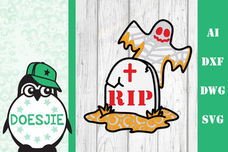 Layered mandala Ghost rip Halloween 3D SVG grave tomb r.i.p. example image 1