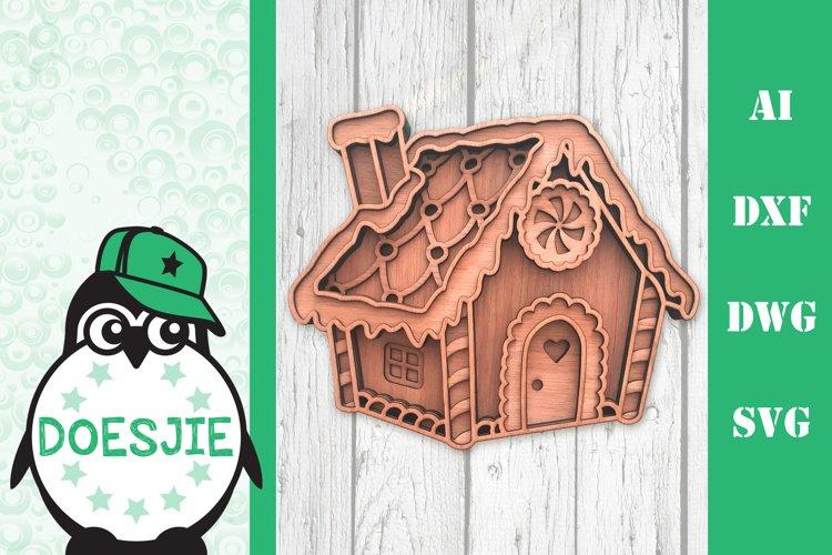Gingerbread house Christmas svg layered mandala multi layer