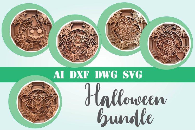 Halloween bundle svg 3d mandala layered 5 designs example image 1