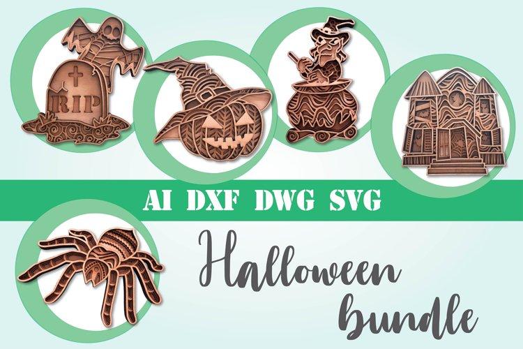 Layered Halloween bundle svg 3d mandala layered 5 designs example image 1
