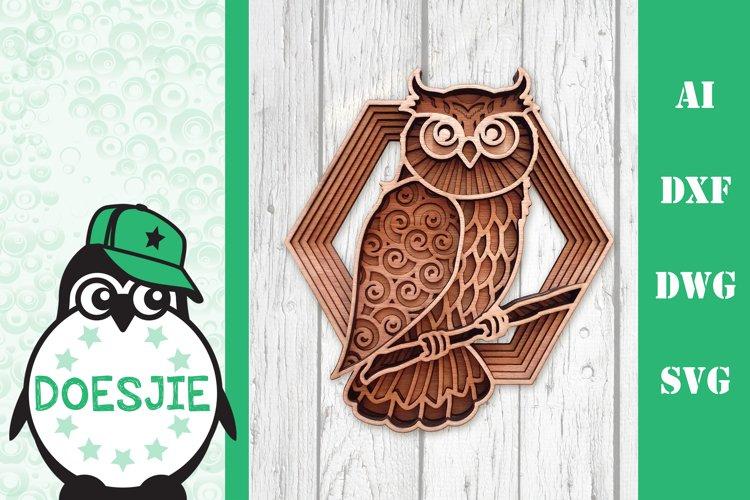Layered owl mandala svg 3D bird SVG multi layer mandala example image 1