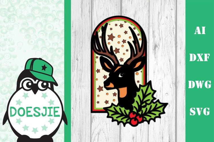 Layered reindeer Christmas mandala multi layer svg 3D deer example image 1