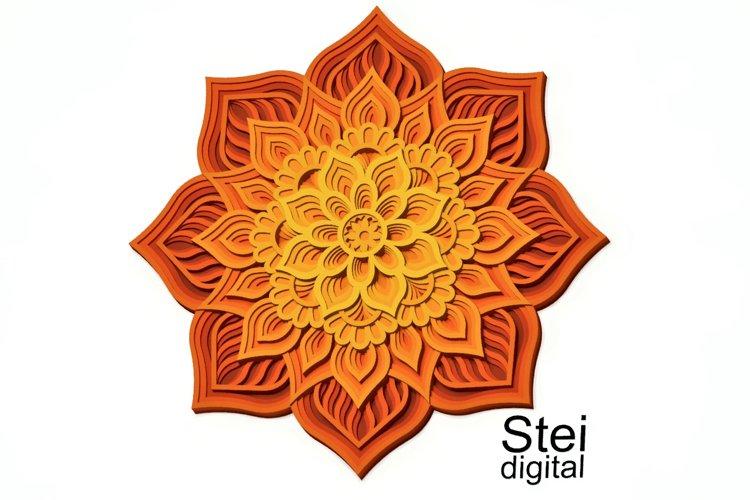 Flower mandala SVG, DXF cut files, 3d layered mandala svg.