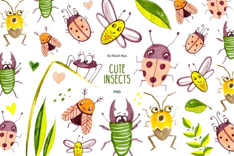 Cute insects clipart set example image 1